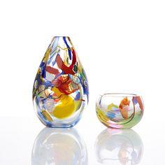 BERIT JOHANSSON - Glass vase and bowl for Sjöhyttan 1998, Sweden. Height 20 cm & 7,5 cm. Glass Design, Design Art, Wood And Metal, Decorative Items, Modern Contemporary, Sweden, Scandinavian, Glass Art, Retro Vintage
