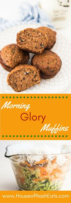 Morning Glory muffins are the BEST.  Loaded with carrots, zucchini, apple…