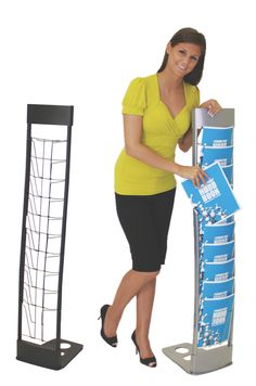 Innovate Literature Rack.  Available in Black or Silver finish.  Sleek look.  10 pockets.  Packs in 3 separate parts to cut down on the shipping size.