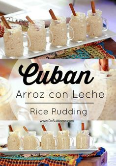 This arroz con leche recipe is a rice pudding with condensed milk that is perfect for busy moms who want to enjoy traditional Cuban desserts without a ton of time and effort. Perfect for cooking with kids to explore food culture and Hispanic traditions. Cuban Desserts, Mexican Food Recipes, Sweet Recipes, Delicious Desserts, Dessert Recipes, Yummy Food, Cuban Appetizers, Hispanic Desserts, Spanish Desserts