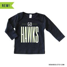 GO HAWKS  NAVY Baby Football Lap T-Shirt   Seahawks by HENANDCO