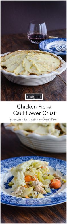 Chicken Pie with Cauliflower Crust is a healthy and simpler take on the traditional chicken pot pie. This recipe is an easy weeknight meal, but hearty enough that you will want it on Sunday. Layers of fresh veggies are sautéed and then topped with a Cau Paleo Recipes, Real Food Recipes, Chicken Recipes, Cooking Recipes, Healthy Chicken Pot Pie, Egg Recipes, Quick Recipes, Copycat Recipes, Chicken Salad