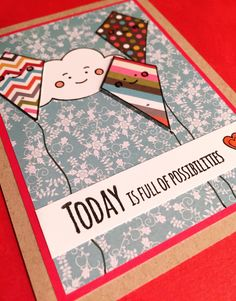 Possibilities card using the Simon Says Stamp Happy Days stamp set with patterned paper.