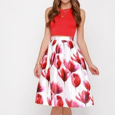"LOWEST 💜 ""The Beauteous Flower"" Flare Midi Skirt A line flare midi skirt with red tulip prints. Brand new without tags. Price is firm. NO TRADES. Bare Anthology Skirts Midi"