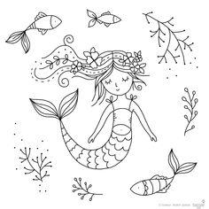 "Items similar to Clear Stamp Set "" Mermaid Dreams"" – card making, paper craft, DIY, scrapbook on Etsy Clear Stamp Set Mermaid Dreams card making Doodle Art, Doodle Drawings, Easy Drawings, Love Stamps, Clear Stamps, Embroidery Patterns, Hand Embroidery, Kunst Picasso, Mermaid Drawings"