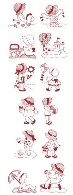 Embroidery | Free Machine Embroidery Designs | Summer Fun Sunbonnets Redwork