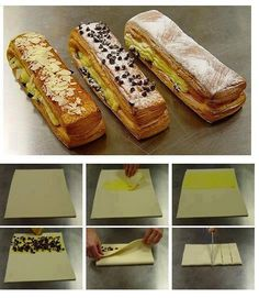 how to make puff pastry Breakfast Pastries, Sweet Pastries, Bakery Recipes, Dessert Recipes, Cooking Recipes, Puff And Pie, Puff Pastry Recipes, French Desserts, Cafe Food