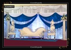 Royal style wedding stage backdrop design in UK. For booking call ...