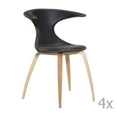 Set 4 scaune din piele cu bază din lemn DAN– FORM Flair, negru Dan, Modern, Design, Home Decor, Trendy Tree, Decoration Home, Room Decor, Home Interior Design