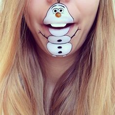 This artist creates cartoon characters on her face with makeup