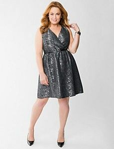 Plus size / Lane Bryant:  Silver Brocade Surplice Dress.  It makes me feel beautiful and elegant.  I can't wait to wear it!