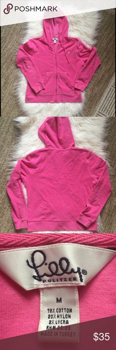 """Lilly Pulitzer pink cotton blend hoodie🌹 Cute pink hoodie.  Terry cloth feel - cotton blend.  Great UEC condition only tiny black dot on the inside of the hood - see last photo.  Size medium.  Approximate measurements 20"""" armpit to armpit and 21"""" length (minus hood). Lilly Pulitzer Tops Sweatshirts & Hoodies"""