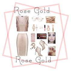 """Rose Gold"" by diankhairani on Polyvore featuring Michael Kors, Bulgari, Urban Expressions, Anne Sisteron, Laura Mercier, Hervé Léger, Miss Selfridge, Huda Beauty and Happy Plugs"