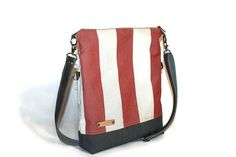 Fold over red striped canvas bag  cross body bag by BYildi on Etsy