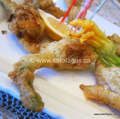 Fried Zucchini Blossoms in Ouzo Batter, with 4 different stuffings
