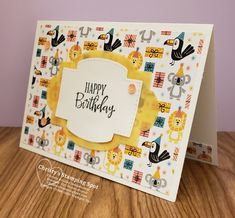Stampin' Up! Birthday Bonanza DSP, Stitched So Sweetly dies, and Peaceful Moments stamp set. Birthday Card Sayings, Vintage Birthday Cards, Kids Birthday Cards, Happy Birthday Images, Happy Birthday Greetings, Vintage Cards, Birthday Quotes, Vintage Images, Kids Stamps