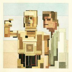 Luke and C-3PO limited edition archival prints: $40 http://www.adamlistergallery.com/shop.html #starwars #art
