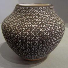 Pueblo:  Acoma  Artist:  Rebecca Lucario   Date Created: 2013  Dimensions:  4 3/4 in H by 5 1/4 in Dia   Item Number:  xxacj3135  Price:  $ 2400 Description:  Jar with geometric design