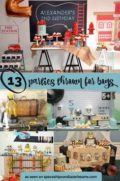 13 Parties for Boys. From firefighter to lego parties.