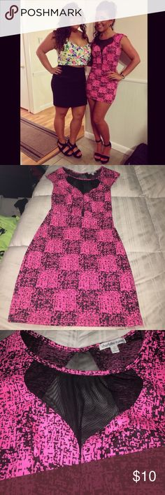 Hot pink mini dress Ladies this is a MUST HAVE for this summer! Hot pink and black with black sheer cut outs! This dress will be missed! Charlotte Russe Dresses Mini