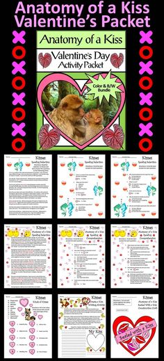 Anatomy of a Kiss Valentine's Day Activity Packet: Contents include: * Kisses Reading Selection & Quiz *  Kinds of Kisses Worksheet * Create Your Own Kiss Writing Activity *  Anatomy of a Kiss Reading Selection & Quiz * Sealed with a Kiss Valentine's Day Craft * Three Coloring Sheets  #Valentine's #Day #Reading #Science #Activities #Teacherspayteachers