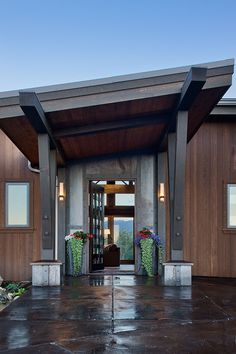 This eye-catching modern timber frame home was built near Red Lodge, Montana by PrecisionCraft Log and Timber Homes.