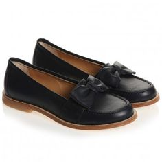 Gallucci Girls Navy Blue Leather Slip-On Shoes