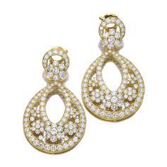 Pair of diamond pendent ear clips, 'Valenciennes', Van Cleef & Arpels
