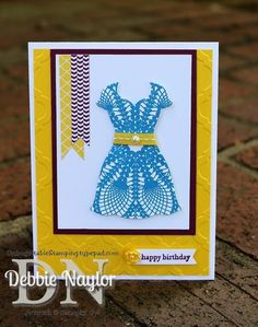 Unfrogettable Stamping | FMS97 sketch Doily Dress birthday card 2013-08-05  www.unfrogettablestamping.typepad.com