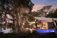 Overlooking a quarter mile of prime Zambezi river frontage, Thorntree River Lodge is at the pinnacle of authentic wilderness architecture. Safari Holidays, River Lodge, Safari Adventure, Outdoor Bathrooms, Wildlife Safari, Victoria Falls, Natural Park, Lodges, National Parks