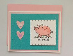 A handstamped card is the next best thing to a hug by GoldCrownGreetings Pig Puns, Kiss Funny, Anniversary Cards For Husband, Local Craft Fairs, Pun Card, Pink Envelopes, Cute Pigs, Animal Cards, Color Card