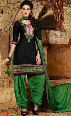 USD 31.68 Black Cotton Embroidery Punjabi Suit 44853