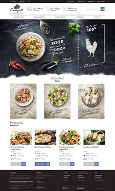 Web design inspiration: Like layout of images and text around them. Negative space works with text on type. Tiles below main graphic may work for individual concepts catering and a major event of some sort Layout Design, Web Layout, Blog Layout, Design Color, Food Web Design, App Design, Mobile Design, Website Design Inspiration, Creative Inspiration