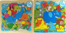 Set Of 2 Wooden Toddlers Jigsaw Puzzles - Dolphin And Elephant 12m+