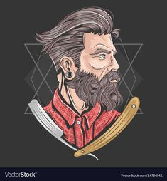 Barber man barbershop beard element vector image on VectorStock Barber Man, Barber Logo, Barber Tattoo, Beard Barber, Logo Barbier, Andrea Barber, Beard Logo, Gents Hair Style, Mens Hairstyles With Beard