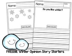 FREEBIE winter opinion writing starters