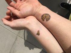 My best friend and I got matching pizza tattoos. Tattoos Friends, Matching Friend Tattoos, Small Matching Tattoos, Bff Tattoos, Dope Tattoos, Best Friend Tattoos, Mini Tattoos, Body Art Tattoos, Small Tattoos