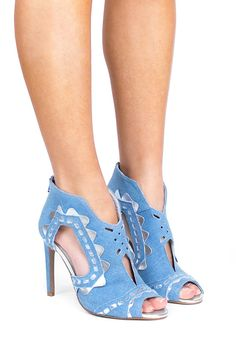 Jeffrey Campbell Shoes ASHFORD Heels in Blue Denim Silver