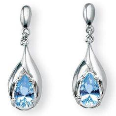 Angelina D'Andrea Sterling Silver Blue Topaz Dangle Earrings | Overstock.com