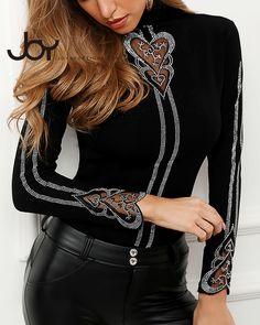 2020 Women Sexy Long Sleeve Plus Size Top Casual Shirt Studded Heart Pattern Blouse Trend Fashion, Estilo Fashion, Women's Fashion, Fashion Women, Ruffles, High Collar Dress, Tops Online Shopping, Heart Patterns, Womens Fashion Online