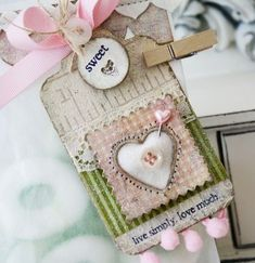 pretty tags with chipboard