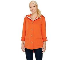 Susan Graver Weekend French Terry Roll Tab Sleeve Jacket