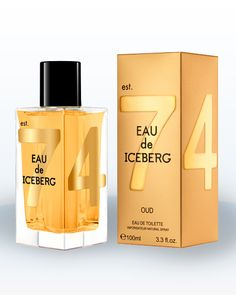 EAU DE ICEBERG classic bottle, with its clean angles and cylindrical black top, the distinctive oversized numbers 7 & 4 are coloured in gold. At once modern and timeless.