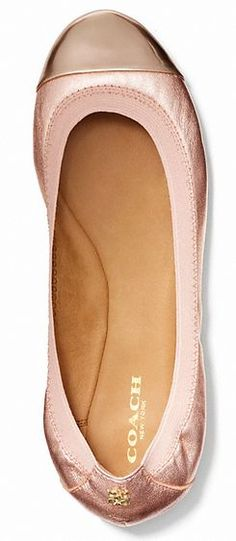 Coach pink and gold flats - adorable and comfortable wedding shoes. I NEED THESE