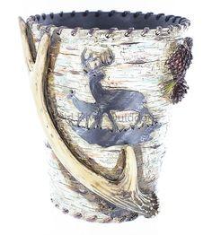Whitetail Deer Antler Birch Tree Bark Pinecone Waste Basket Trash Can Bathroom | eBay
