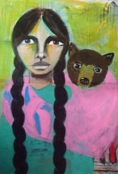 my bear and me  Portrait of a woman, Acrylic painting, Mixed Media Art, Benedicte 2015