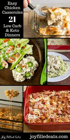 Easy Chicken Casseroles - 21 Low Carb & Keto Dinners to make chicken much more than boring. THM S, Gluten-Free, Grain-Free. Family-friendly healthy entrees. Healthy Casserole Recipes, Healthy Dinner Recipes, Low Carb Recipes, Keto Casserole, Healthy Options, Diabetic Recipes, Lunch Recipes, Healthy Food, Dinners To Make