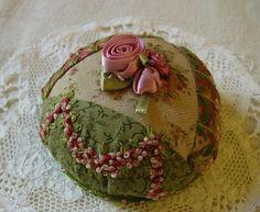 I ❤ crazy quilting & embroidery . . .  Rosebud Pincushion 01  ~By ivoryblushroses