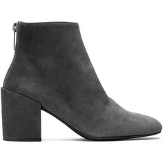 Stuart Weitzman BACARI (£430) ❤ liked on Polyvore featuring shoes, boots, ankle booties, booties, gray suede, suede leather boots, gray suede boots, suede booties, grey suede booties and grey suede boots