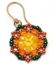 Beaded Circle Earrings Made with Hexagon Weave by Gwen Fisher with Doceri